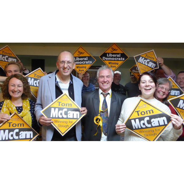 Tom McCann and supporters at his general election campaign launch event May 2017