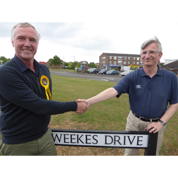 Lib Dem campaigner with Robert Plimmer in Weekes Drive
