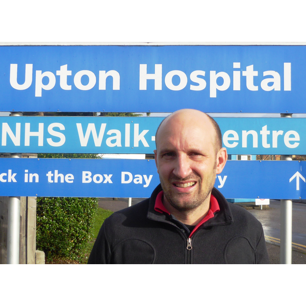 Matthew Taylor at Upton Hospital highlighting the campaign against privatisation