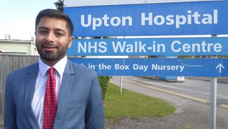 Aaron Chahal Lib Dem Prospective Parliamentary Candidate for Slough at Upton Hospital