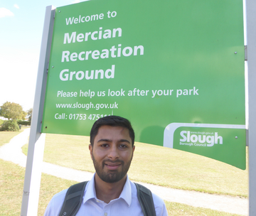 Aaron Chahal-Lib Dem candidate for Slough highlighting the Labour Council's massive hike in charges for hiring sports pitches